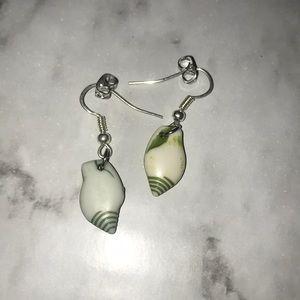 Green conch earrings
